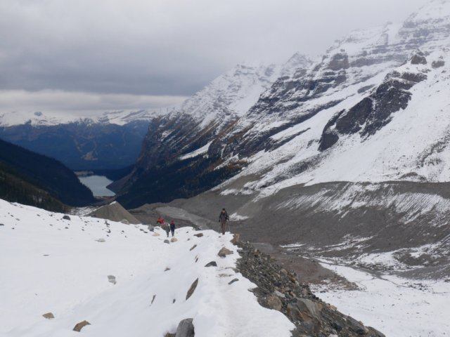 Looking back to Lake Louise from the Plain of the Six Glaciers trail