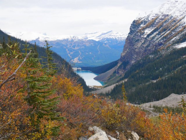 Looking down from the path to the Plain of Six Glaciers