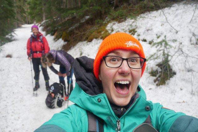 Silly-face selfie on the Windy Joe trail