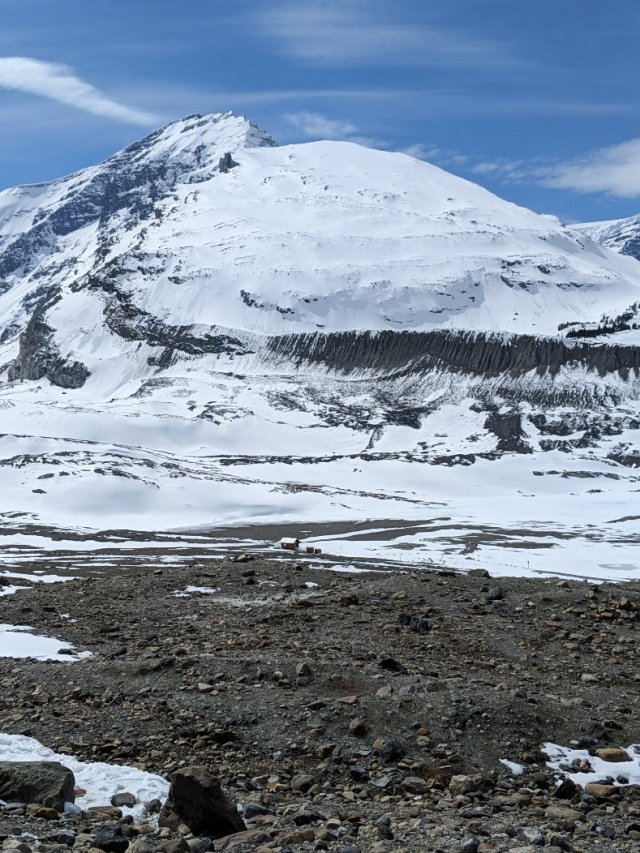 Looking down to the start of the Toe of the Athabasca Glacier Hike