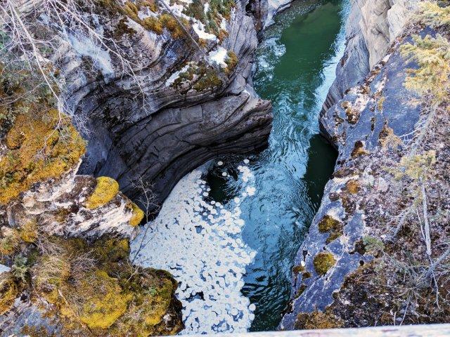 Circular foam below Athabasca Falls