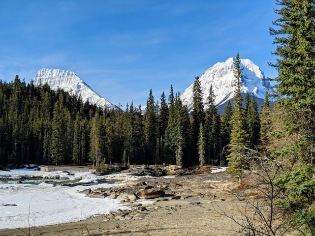 Mountains, Athabasca river and waterfalls