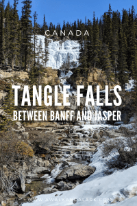 Tangle Falls covered in ice on the road between Jasper and Banff