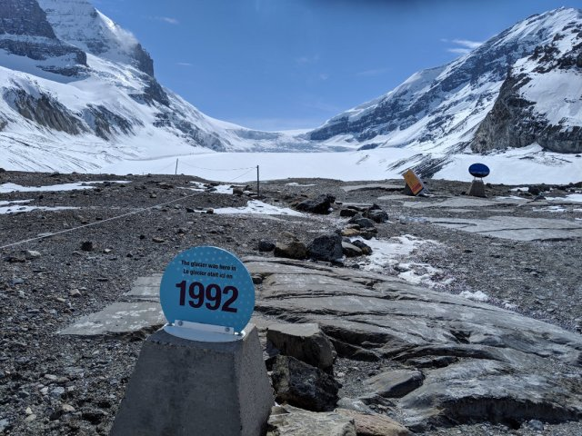 Toe of the Athabasca Glacier trail - 1992 marker