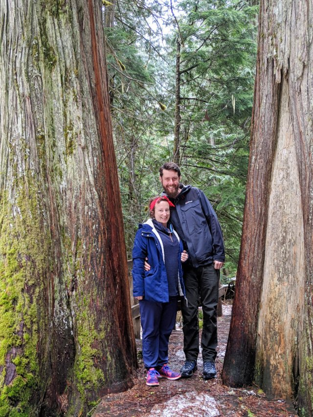 George and Cerys on the Giant Cedars Boardwalk Trail