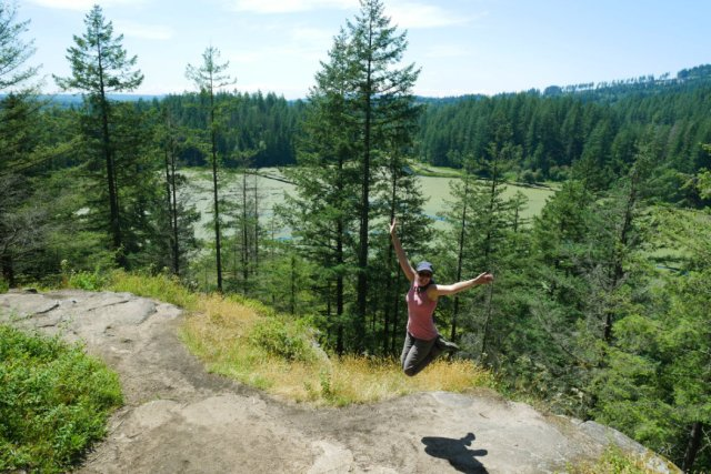 Low knoll viewpoint jump shot -Minnekhada Park