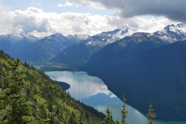 Views down to Cheakamus Lake
