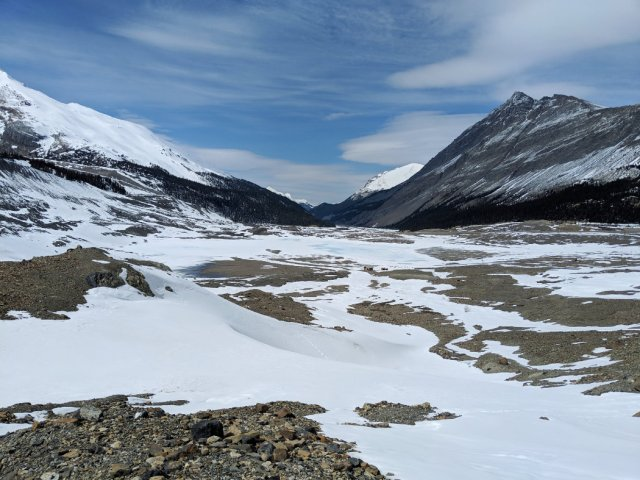 Toe of Athabasca Glacier loo from afar