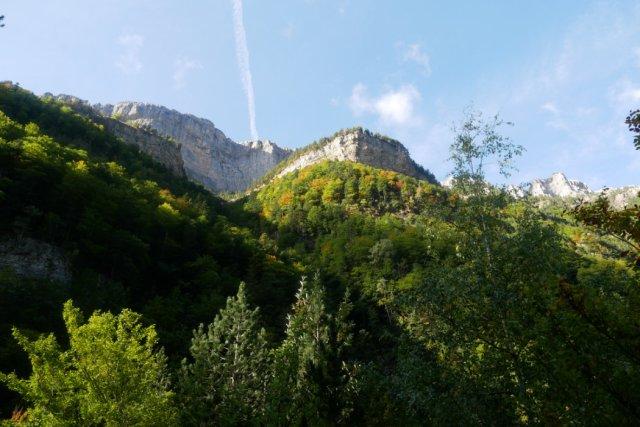 Views up between waterfalls