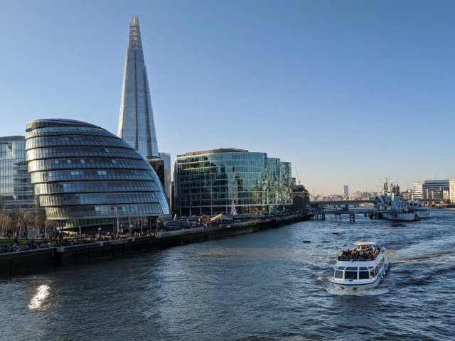 Views from Tower Bridge the shard and Southbank