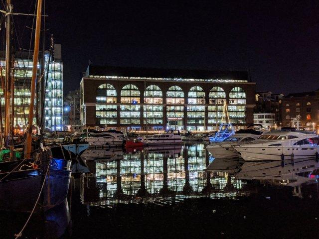 St Katherine's Docks at night