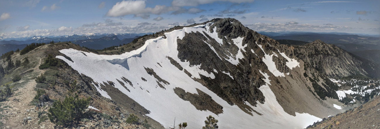 Panorama looking along the ridge