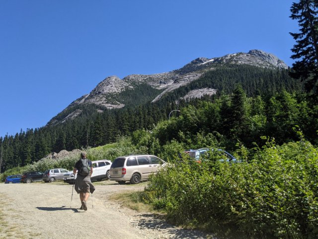 Car park with the mountains behind