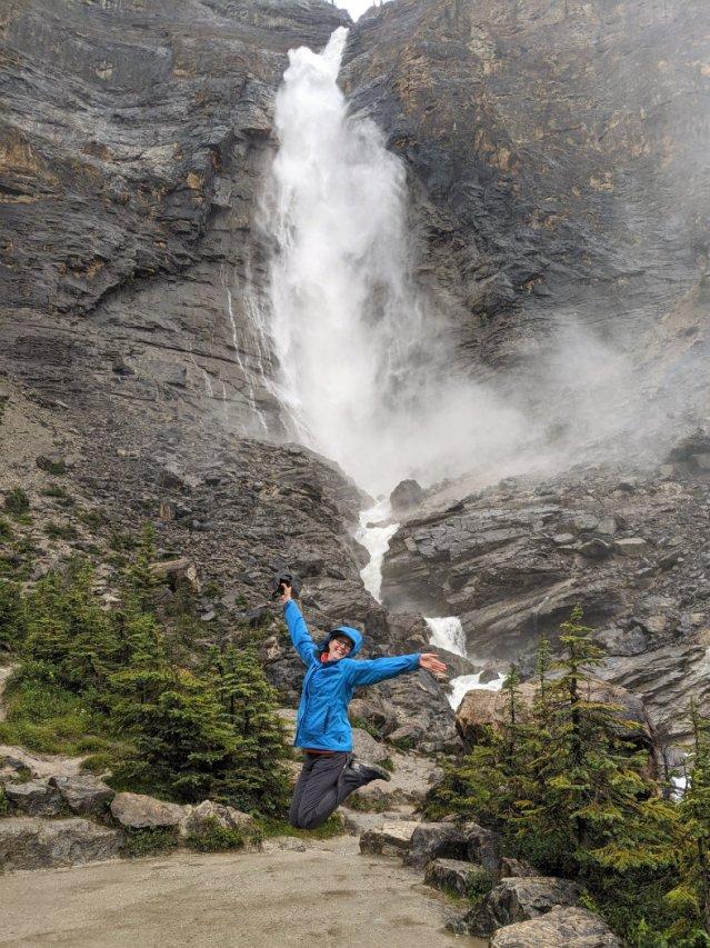 Jumping by Takakkaw Falls