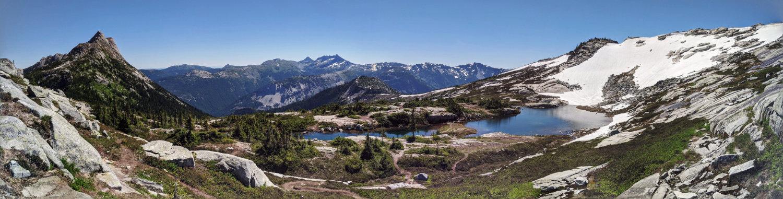 View of Needle Peak, the lake on the Flatiron