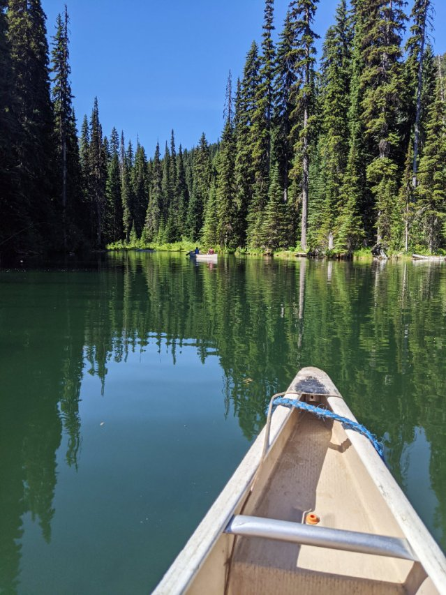 Views from a canoe on Lightning Lake