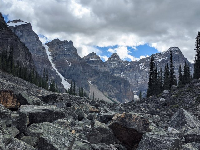 Valley of the Ten Peaks from the trail behind the rock pile
