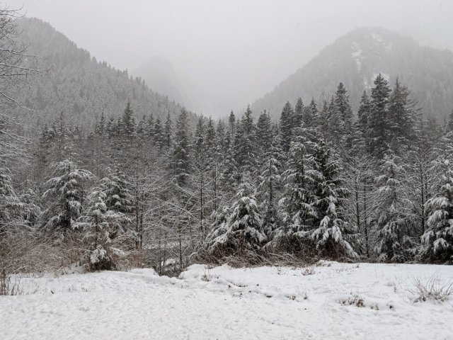 Snow-covered Mount Fromme, Grouse Mountain and the end of Goat Ridge from Lynn Creek
