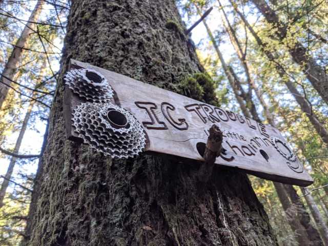 Sign on bear mountain - Big Trouble Little Chainring