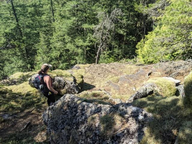Climb down the mossy rocks