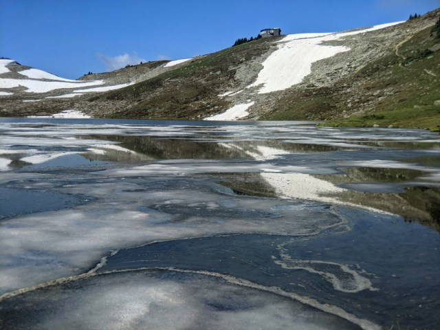 Ice on Russet Lake looking to the Kees and Claire Hut