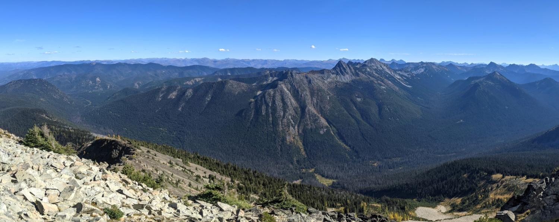 Views from Frosty Mountain ridge towards the USA