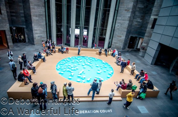 Floating ceramic bowls in a pool of water at the NGV art museum in Melbourne, Australia create a ringing sound as each one gently bumps into an adjoining bowl