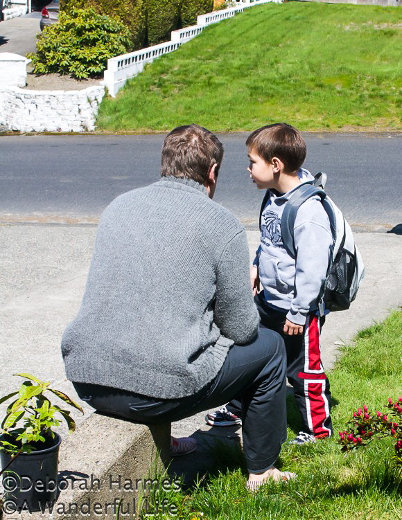 Mark and Ian chatting before school