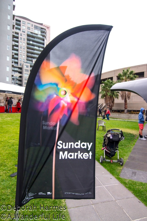 Sunday Market flag indicating the weekend event outside the Melbourne Arts Centre in Australia