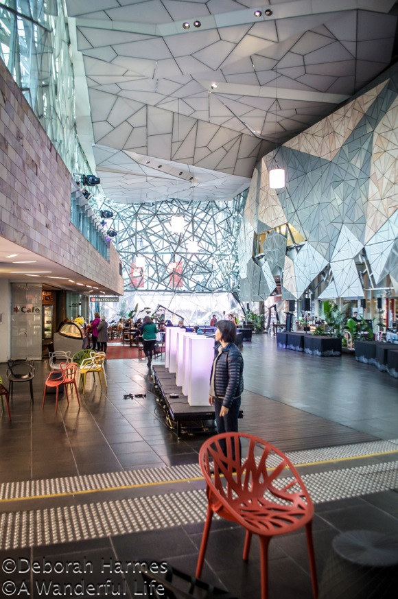 The multi-story high atrium at Federation Square in Melbourne, Australia