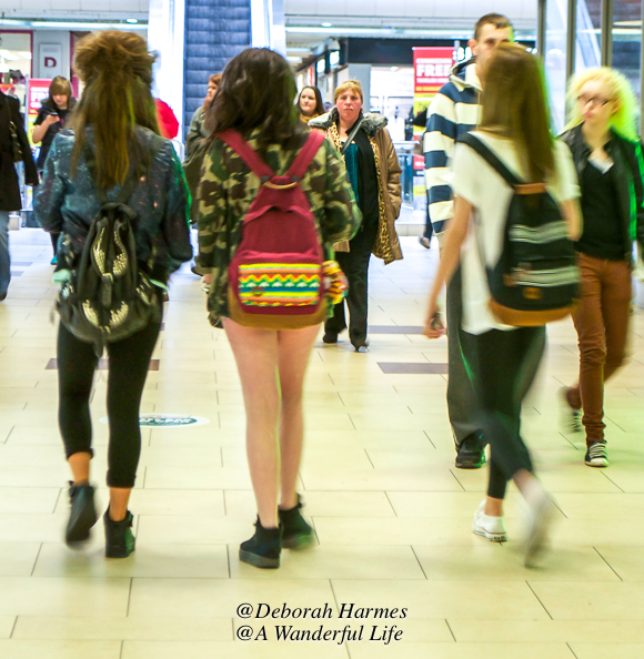 Teased up back-combed hair on young girls in a Newcastle mall going from the most bouffant on the left to the least voluminous on the right.