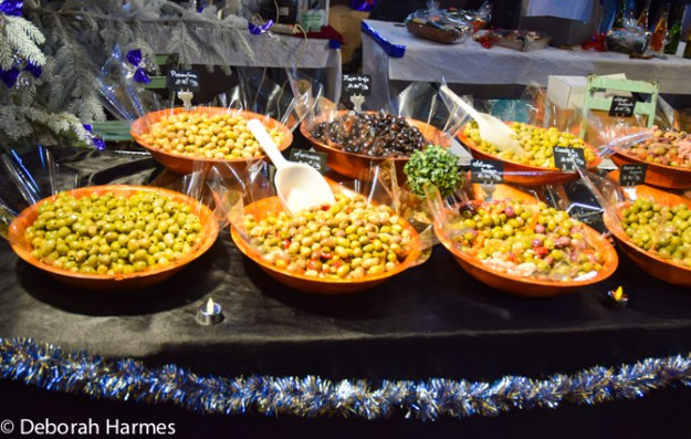 A variety of marinated olives on offer.