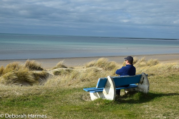 Mark looking out to sea in Brehal, Normandy, France