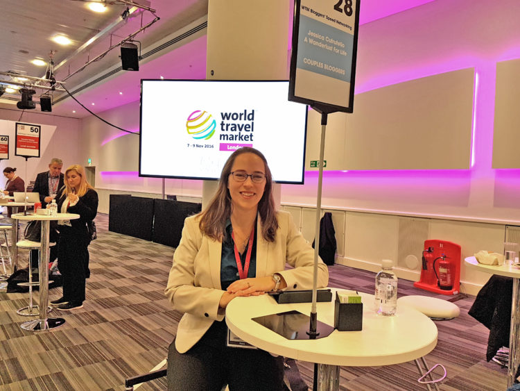 Jess at WTM speed networking table