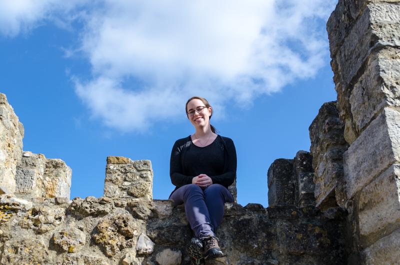 Sitting on a castle in Lisbon