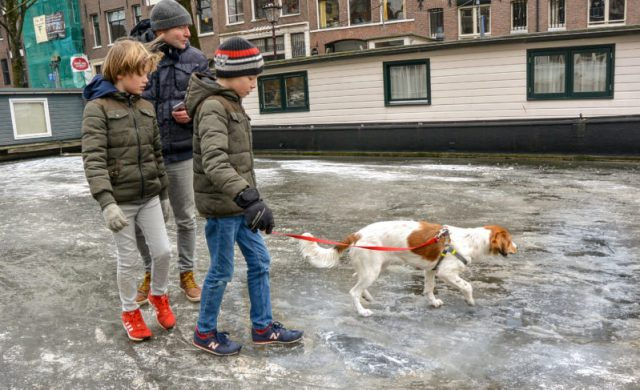 Walking a dog on a frozen canal