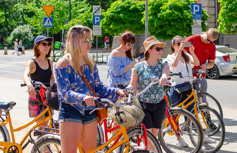 Bike tour group in Krakow