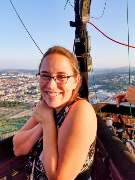 Jessica in a hot air balloon