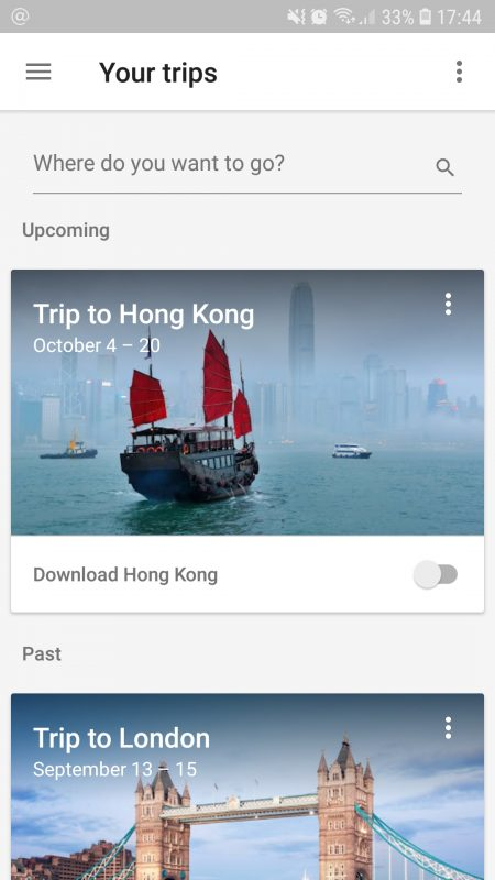 Google Trips List
