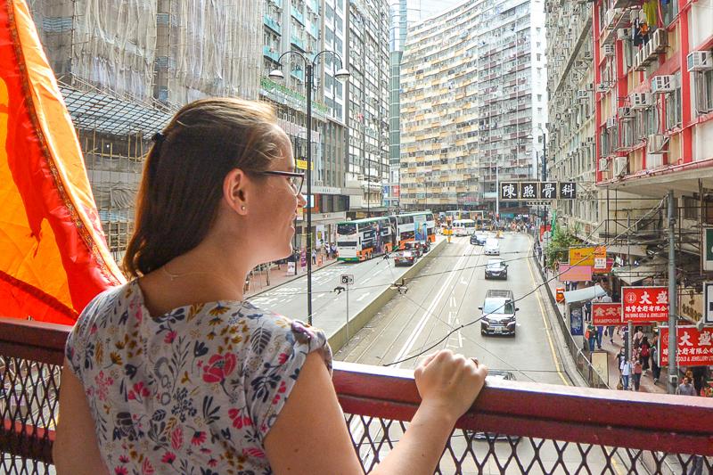 Jessica overlooking Hong Kong street