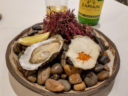 Oysters with caviar and cider -- Blueizar, Bilbao, Spain