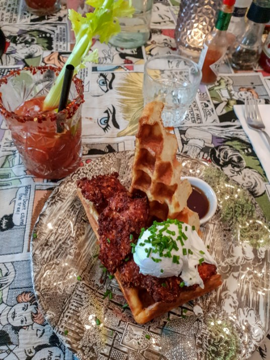 """Dirty South"" (fried chicken, cheddar waffle, poached egg) -- G's, Amsterdam, Netherlands"