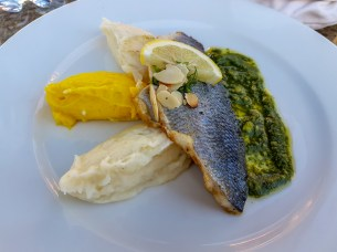 Seared fish with potato and pesto -- Dar Marjana, Marrakech, Morocco
