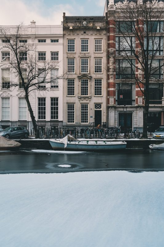 Amsterdam houses in winter
