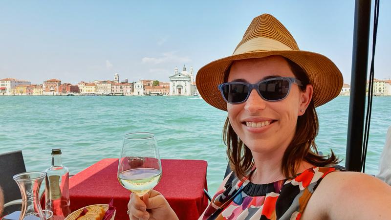 Snacks waterside in Venice