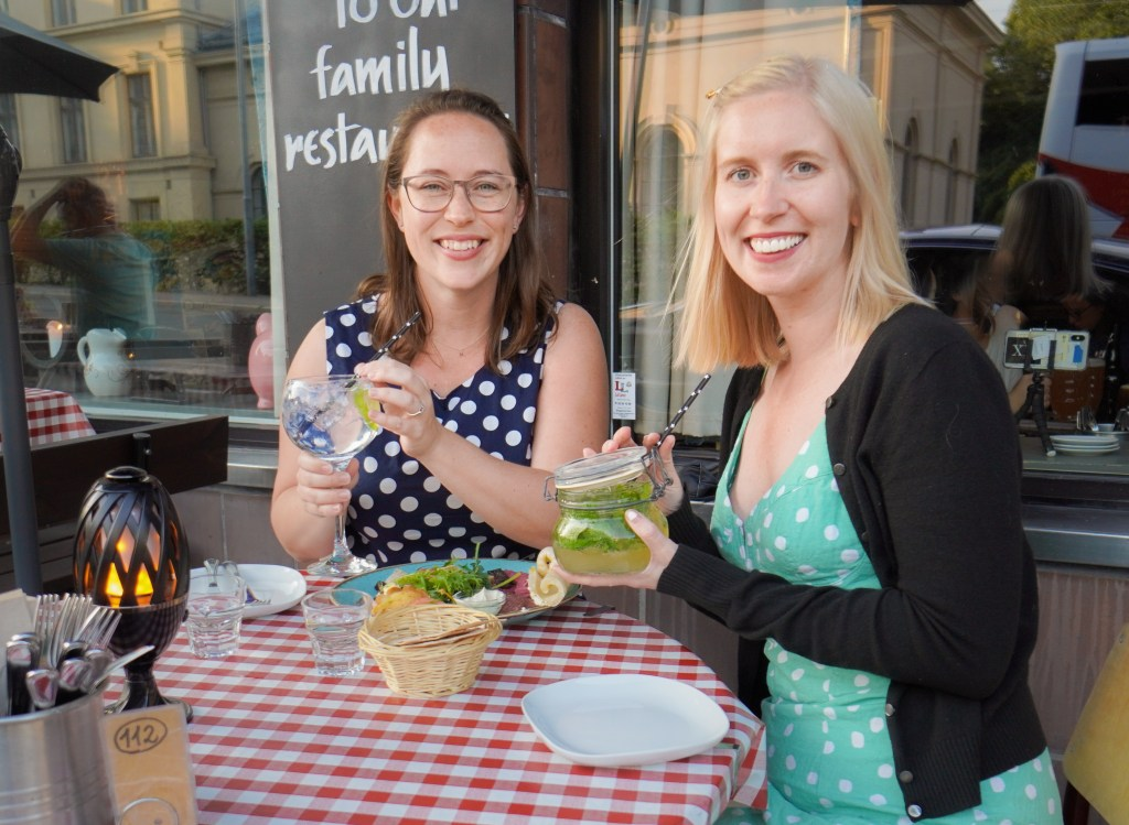 Jessica and Silvia in Oslo, Norway trying Norwegian foods