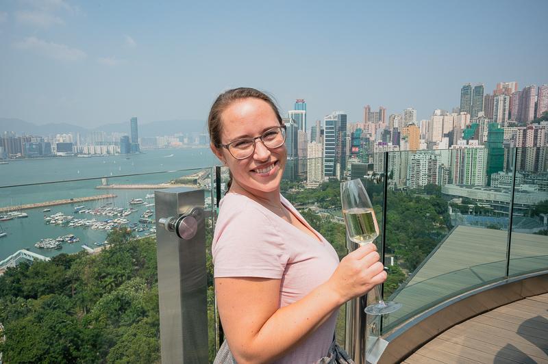 Jessica at Skye bar, Hong Kong