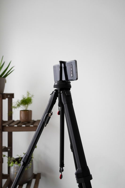 cell phone on tripod
