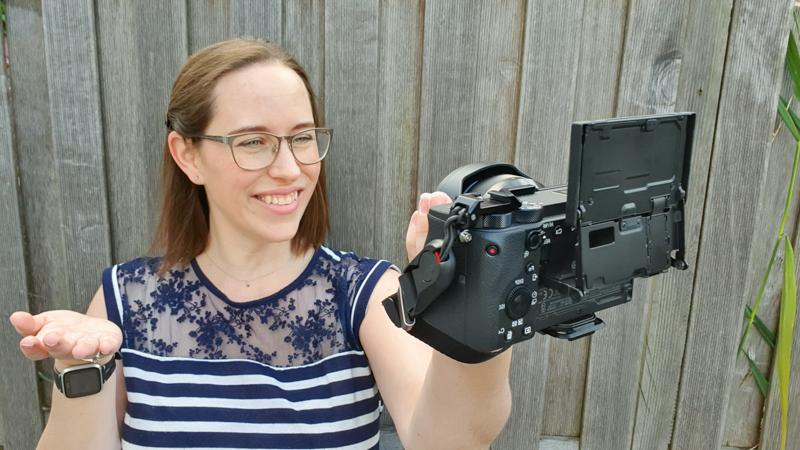 Jessica vlogging back of camera 1