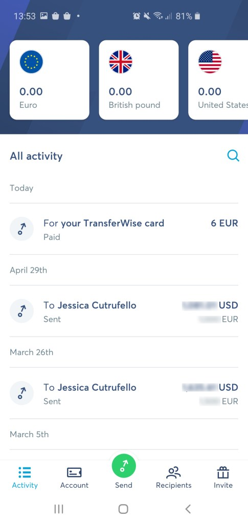 Transferwise app accounts